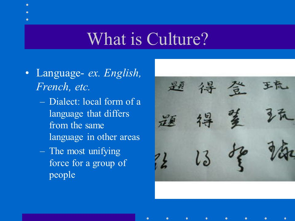 What is Culture Language- ex. English, French, etc.