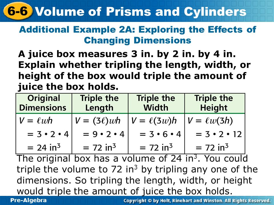 Additional Example 2A: Exploring the Effects of Changing Dimensions