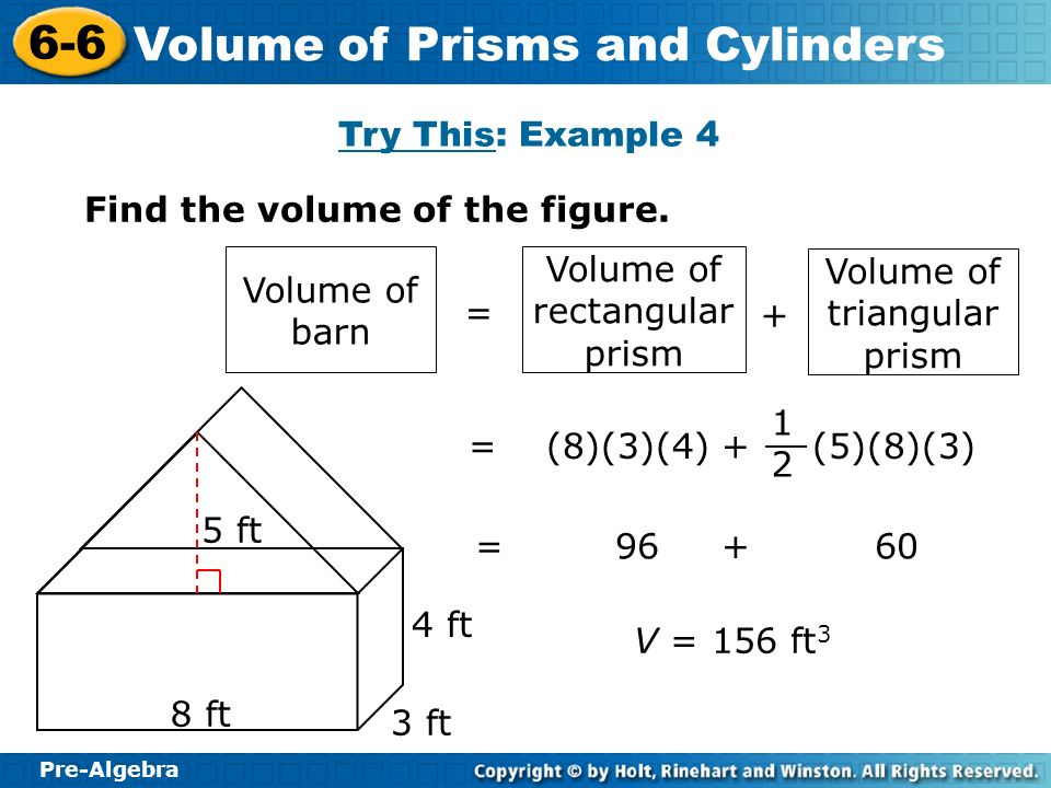 Find the volume of the figure.