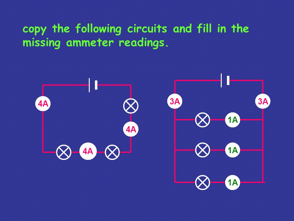 copy the following circuits and fill in the missing ammeter readings.