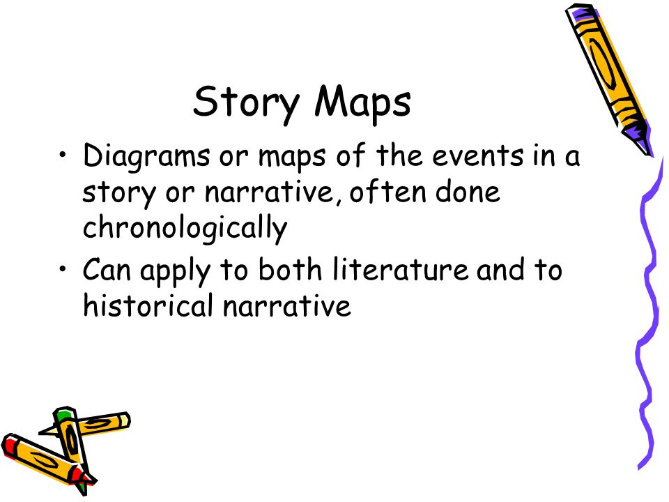 Story Maps Diagrams or maps of the events in a story or narrative, often done chronologically.