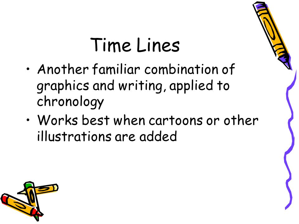 Time Lines Another familiar combination of graphics and writing, applied to chronology. Works best when cartoons or other illustrations are added.