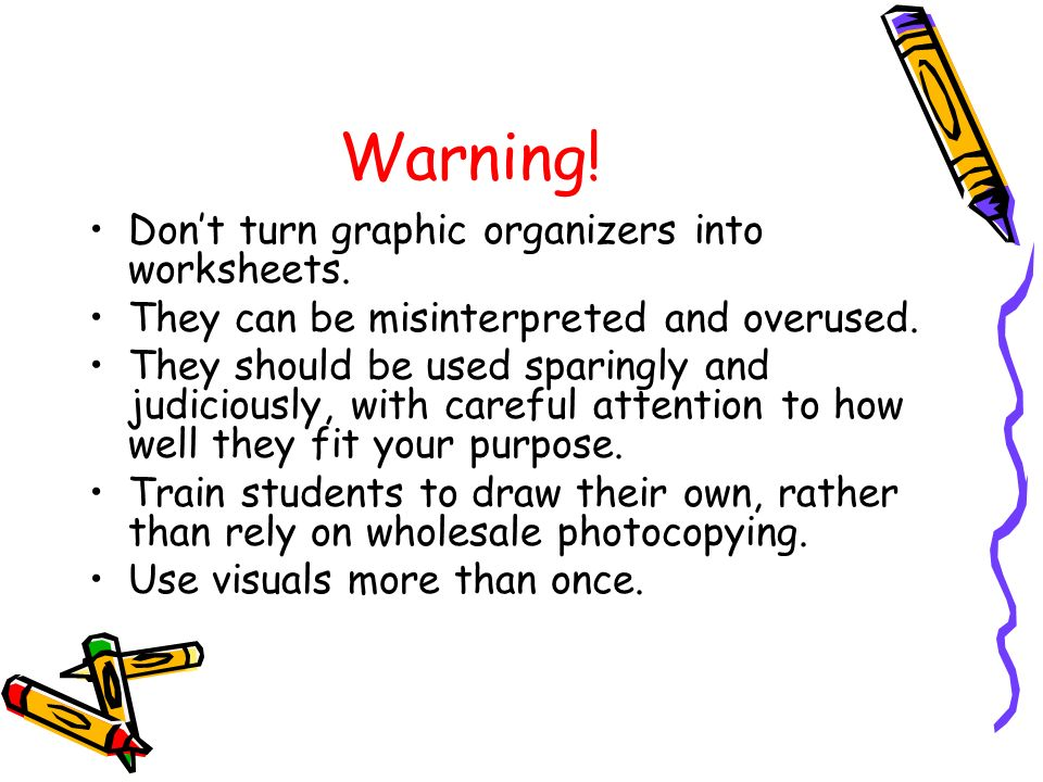 Warning! Don't turn graphic organizers into worksheets.