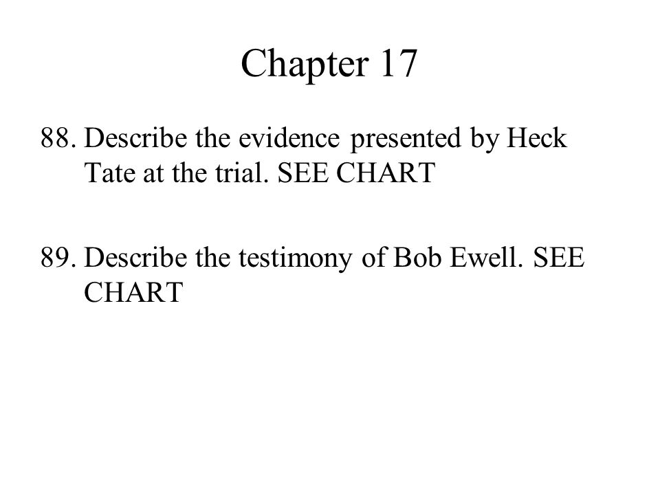 Chapter 17 88. Describe the evidence presented by Heck Tate at the trial.