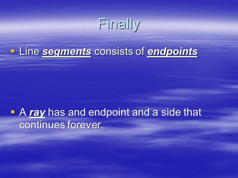 Finally Line segments consists of endpoints