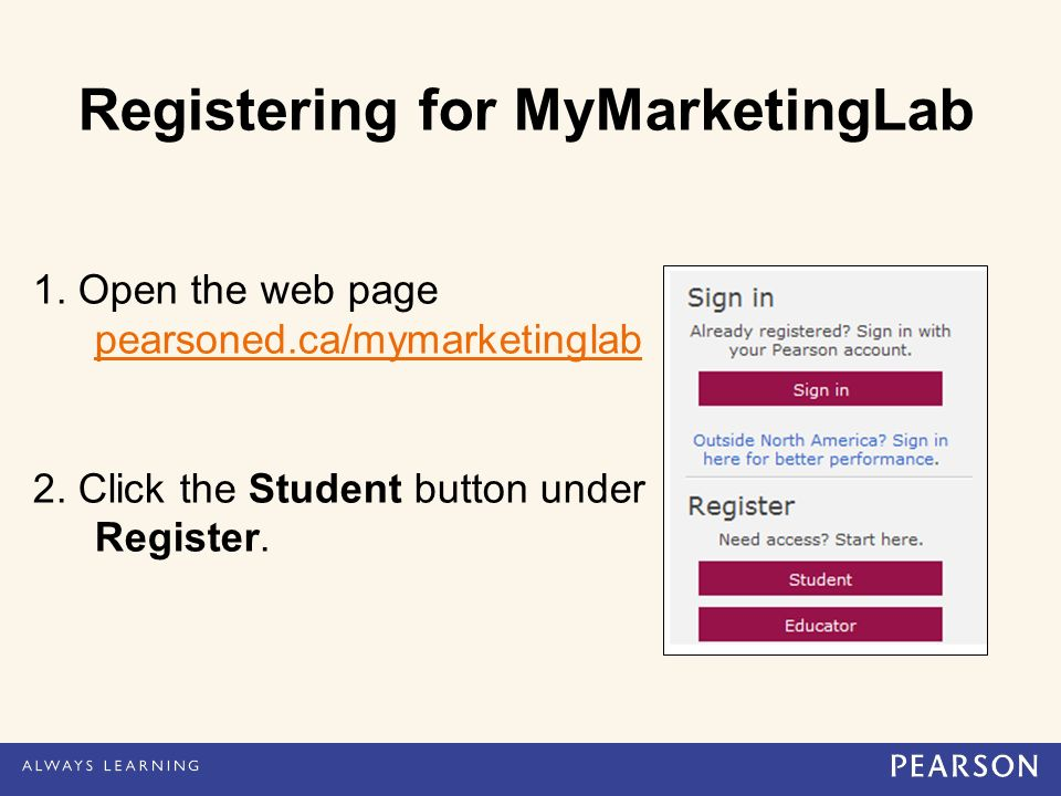 Registering for MyMarketingLab