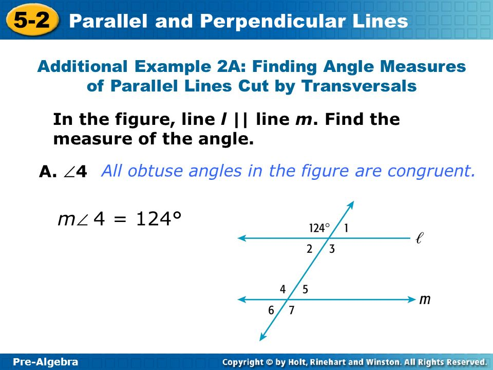 Additional Example 2A: Finding Angle Measures of Parallel Lines Cut by Transversals