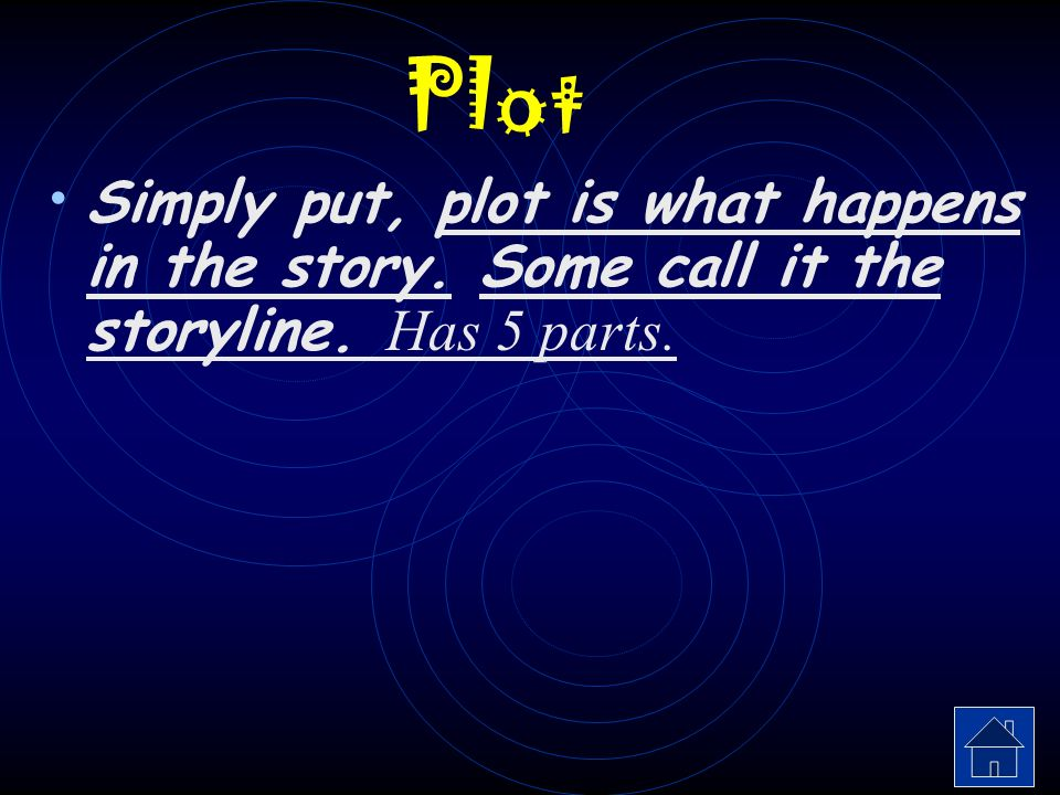 Plot Simply put, plot is what happens in the story. Some call it the storyline. Has 5 parts.