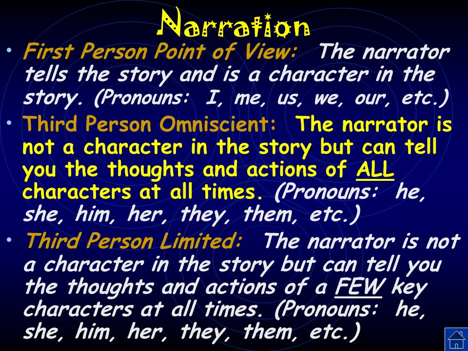 Narration First Person Point of View: The narrator tells the story and is a character in the story. (Pronouns: I, me, us, we, our, etc.)