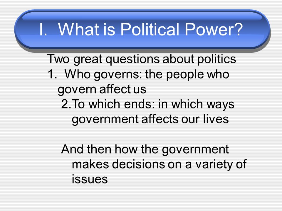 I. What is Political Power