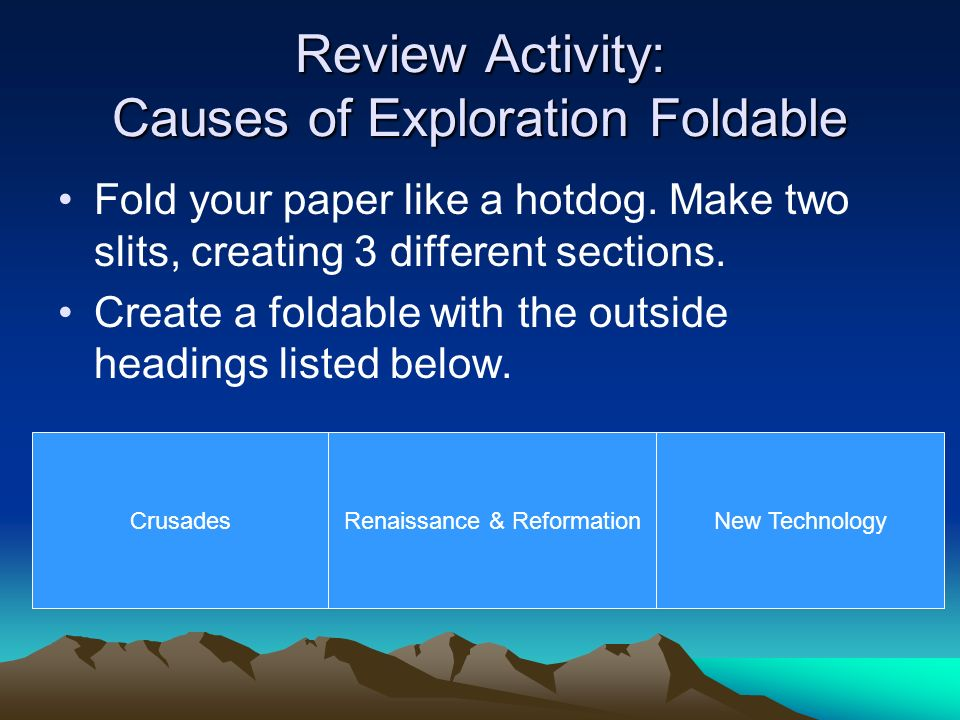 Review Activity: Causes of Exploration Foldable