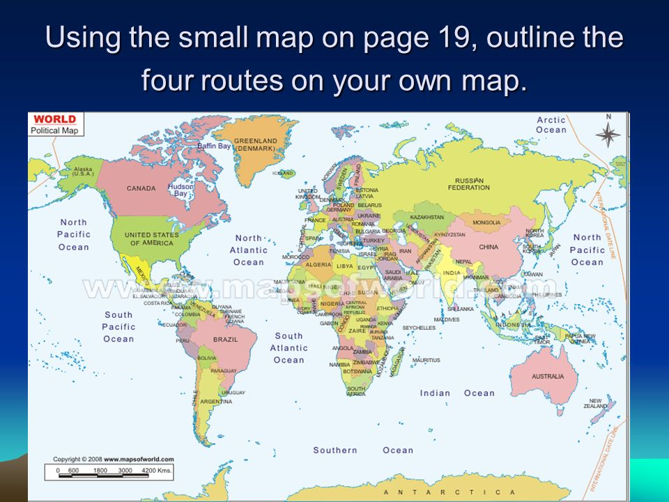 Using the small map on page 19, outline the four routes on your own map.