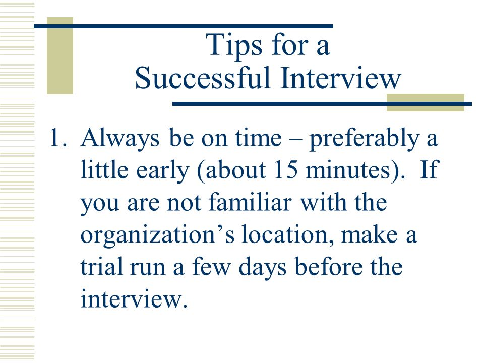 Tips for a Successful Interview