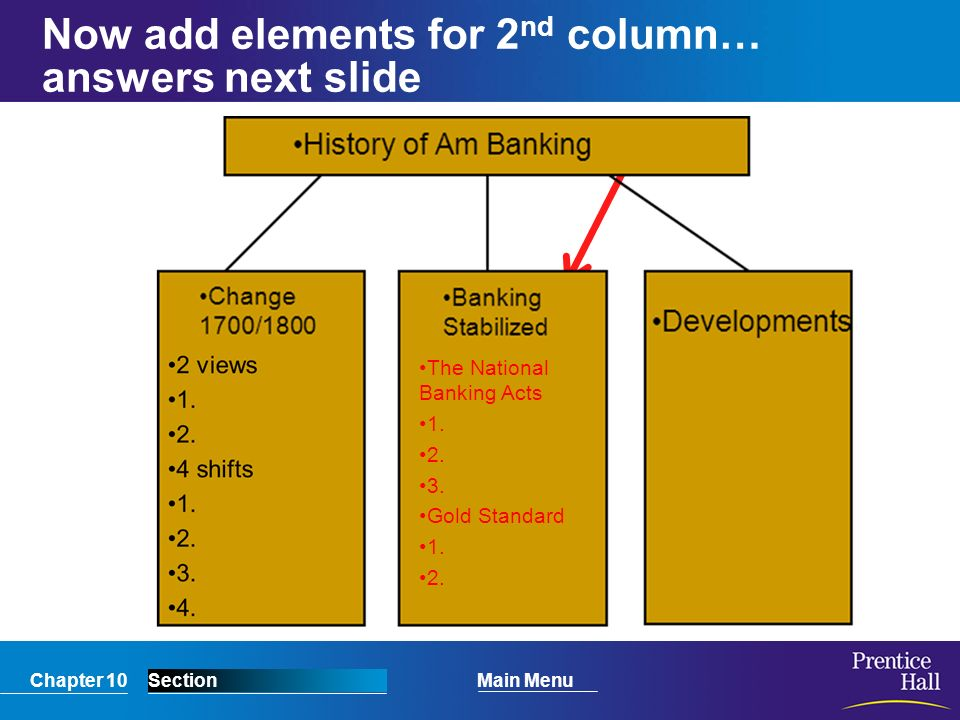Now add elements for 2nd column… answers next slide