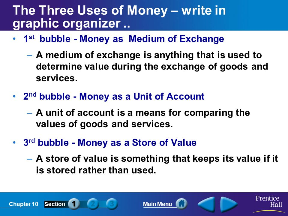 The Three Uses of Money – write in graphic organizer ..