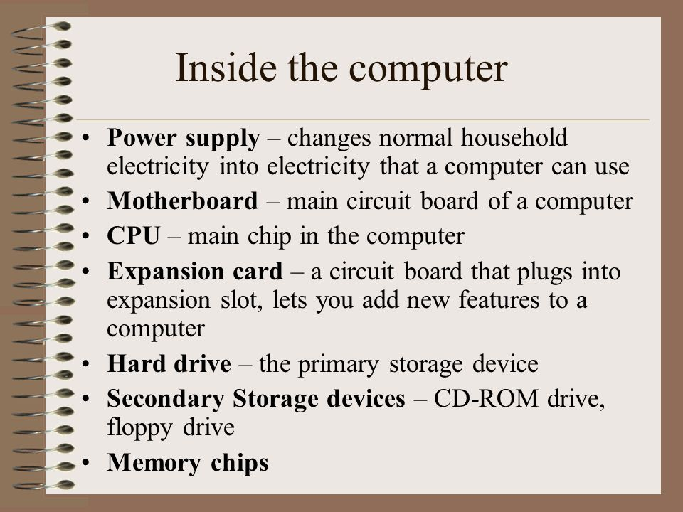 Inside the computer Power supply – changes normal household electricity into electricity that a computer can use.