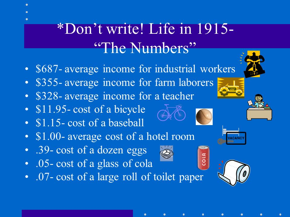 *Don't write! Life in 1915- The Numbers