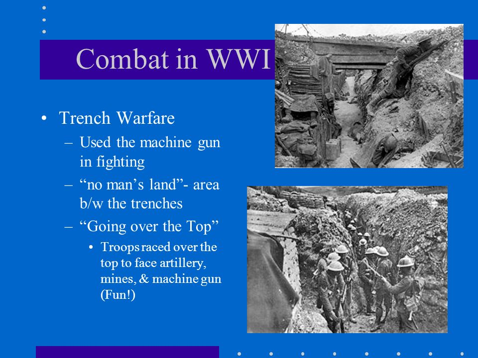 Combat in WWI Trench Warfare Used the machine gun in fighting