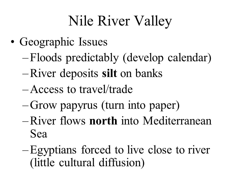 Nile River Valley Geographic Issues