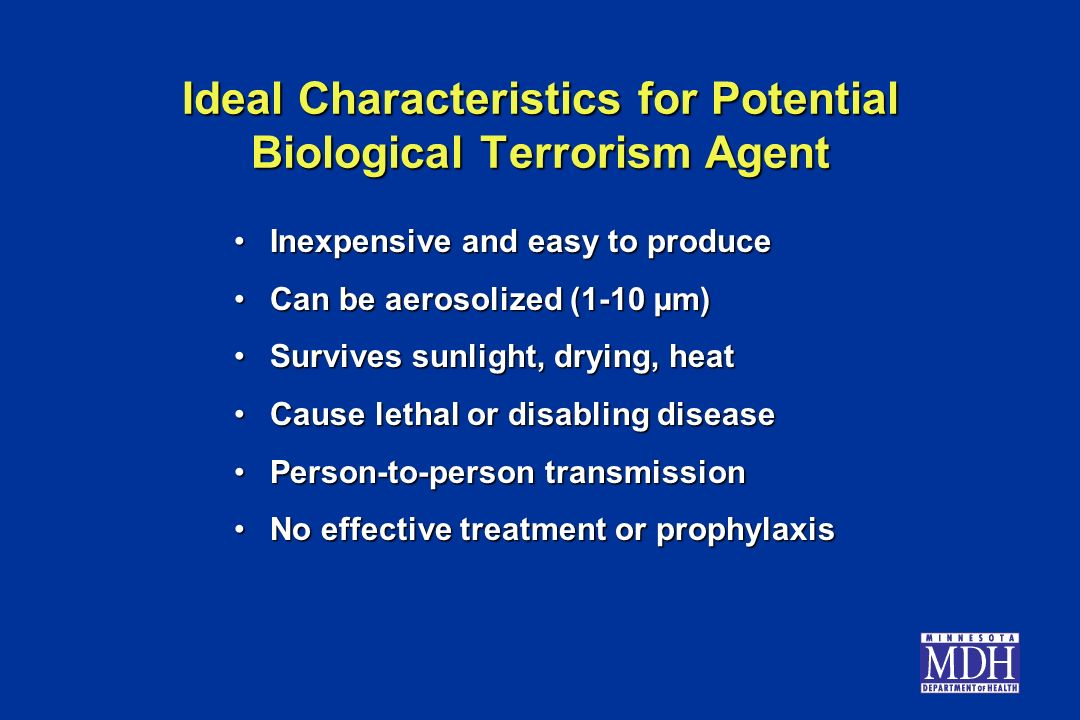 Ideal Characteristics for Potential Biological Terrorism Agent