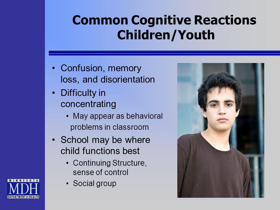 Common Cognitive Reactions Children/Youth