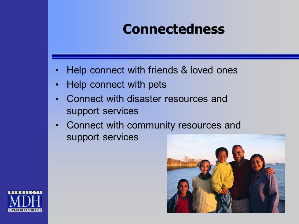 Connectedness Help connect with friends & loved ones
