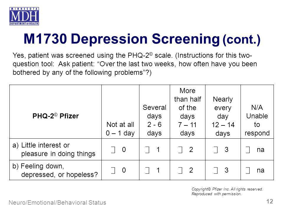 M1730 Depression Screening Cont