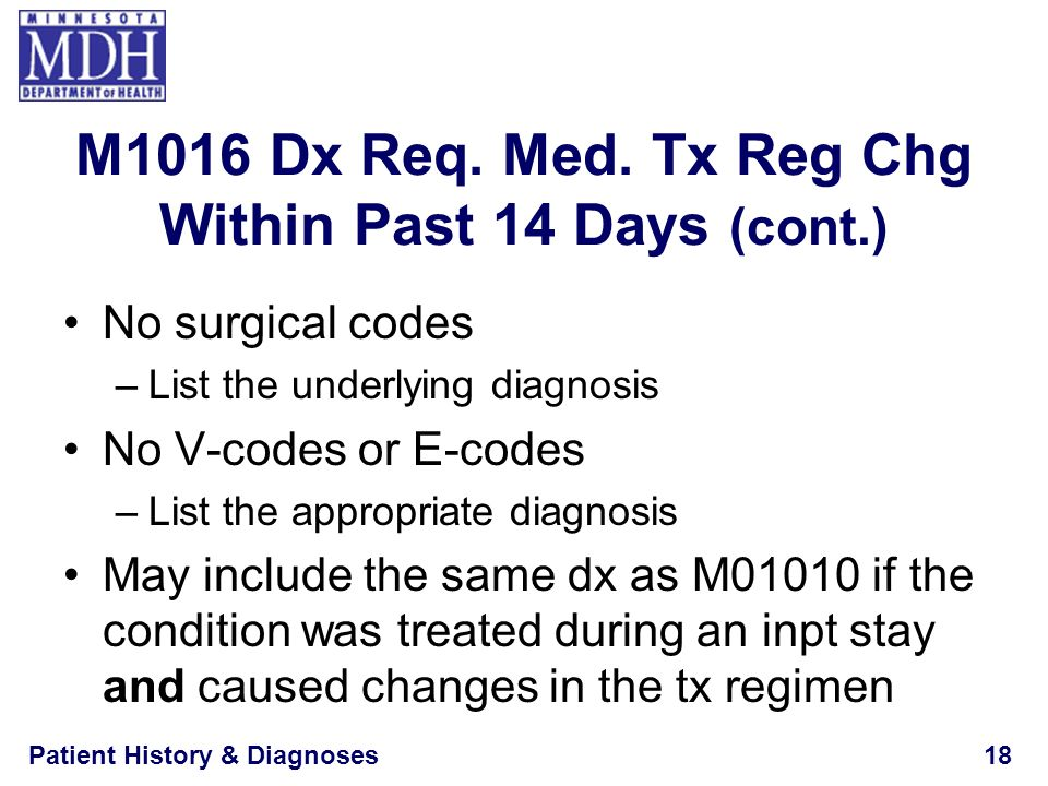 M1016 Dx Req. Med. Tx Reg Chg Within Past 14 Days (cont.)