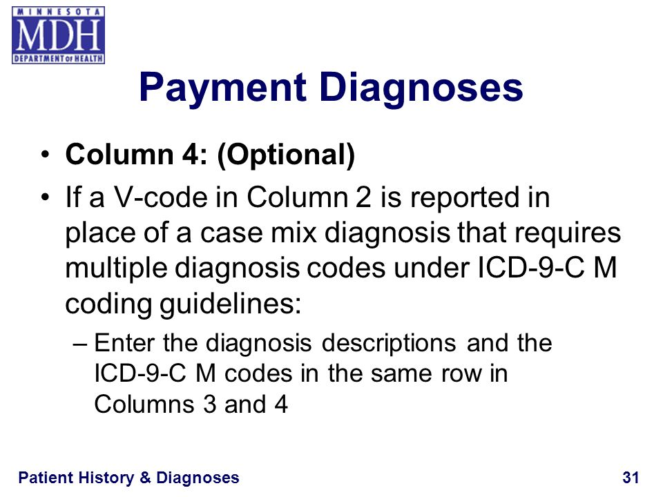 Payment Diagnoses Column 4: (Optional)