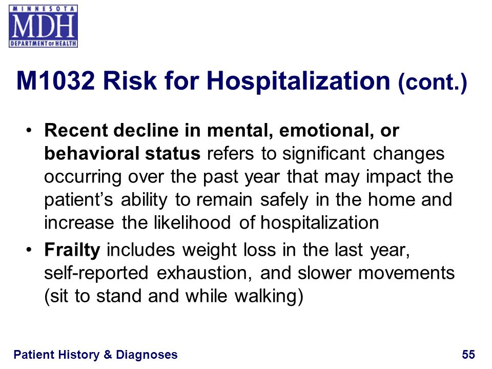 M1032 Risk for Hospitalization (cont.)