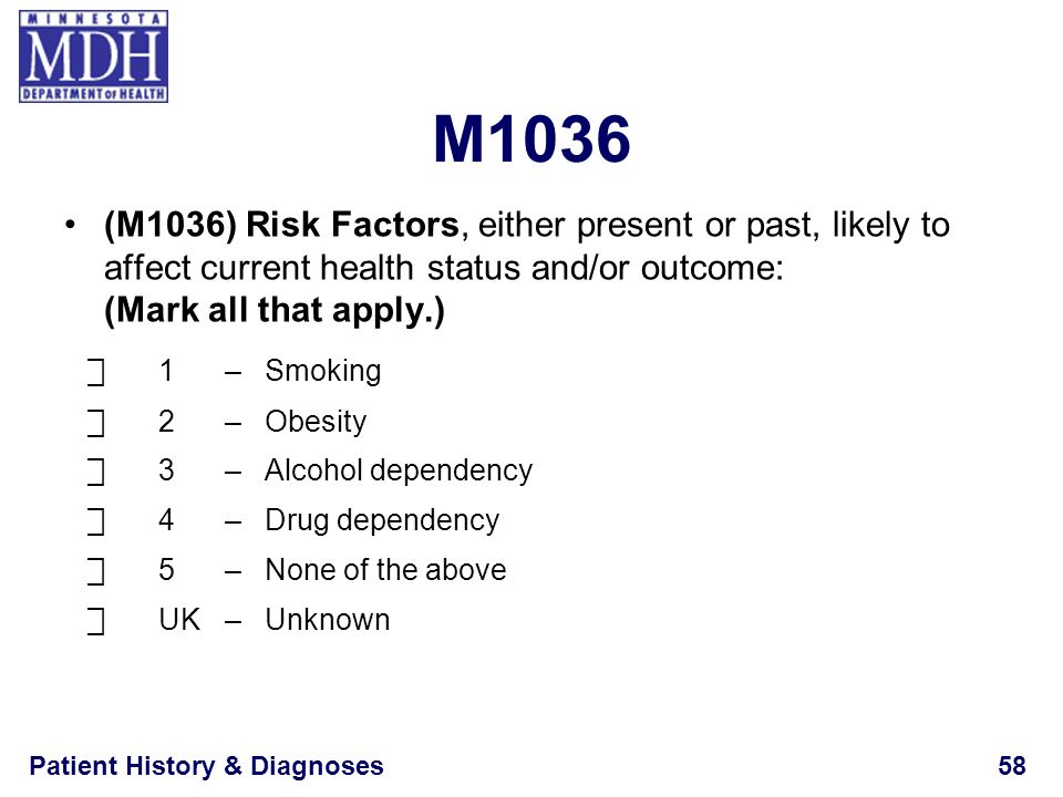 M1036 (M1036) Risk Factors, either present or past, likely to affect current health status and/or outcome: (Mark all that apply.)