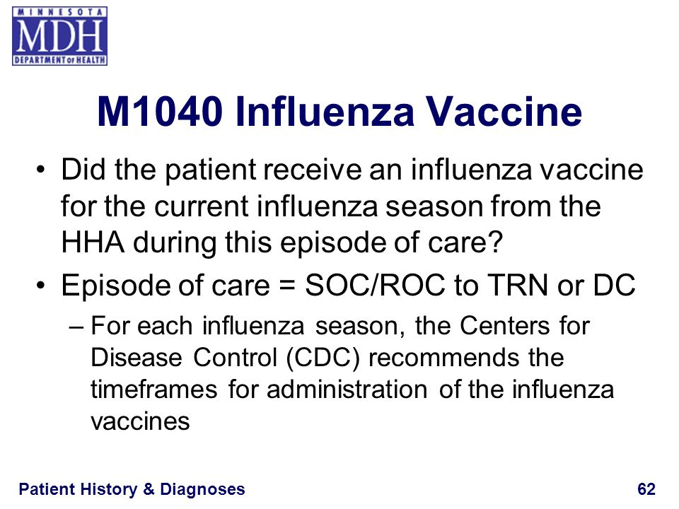 M1040 Influenza Vaccine Did the patient receive an influenza vaccine for the current influenza season from the HHA during this episode of care