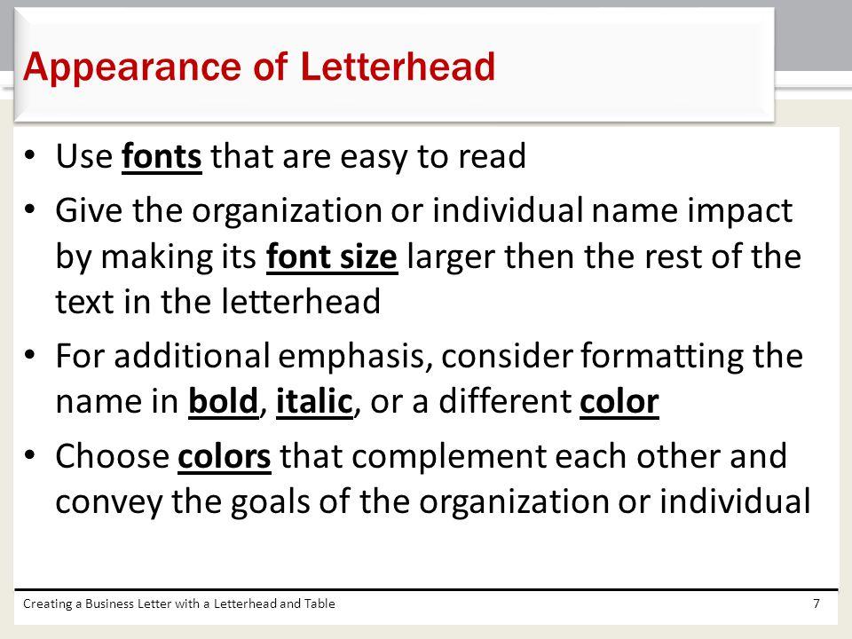 Appearance of Letterhead