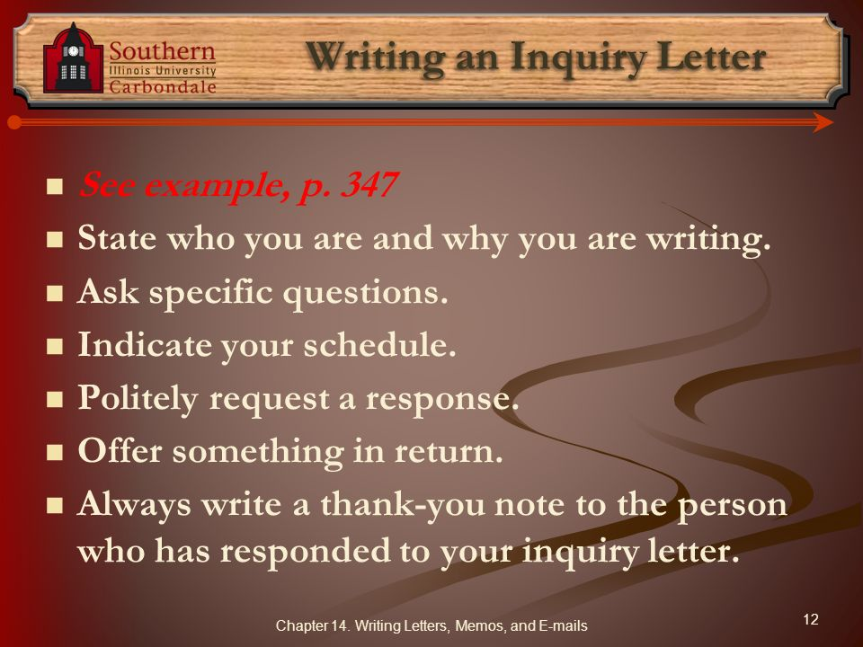 Writing an Inquiry Letter