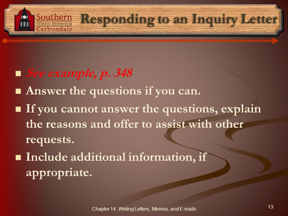 Responding to an Inquiry Letter