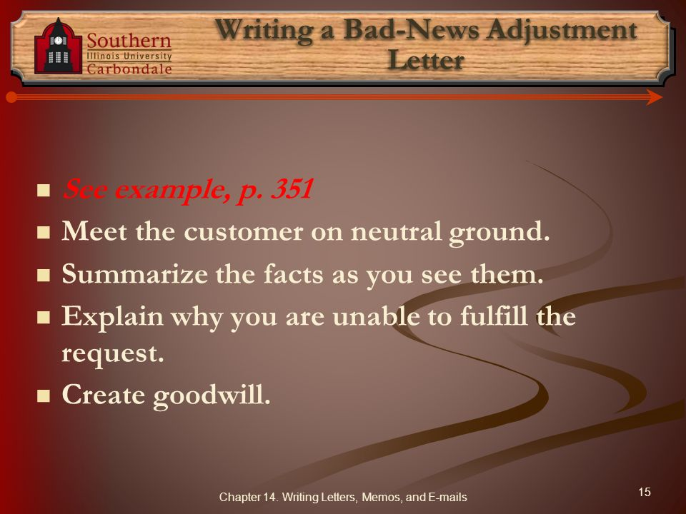 Writing a Bad-News Adjustment Letter
