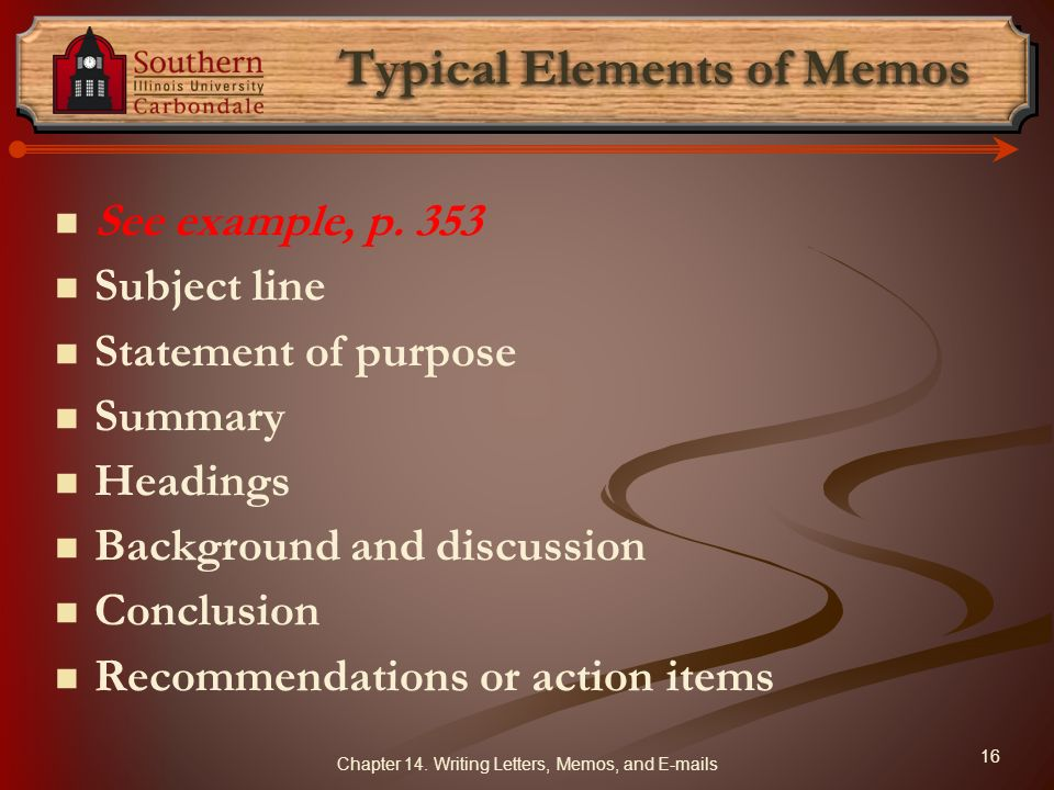 Typical Elements of Memos