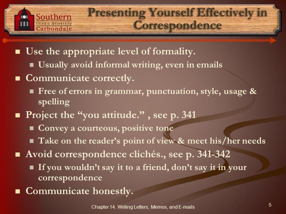 Presenting Yourself Effectively in Correspondence
