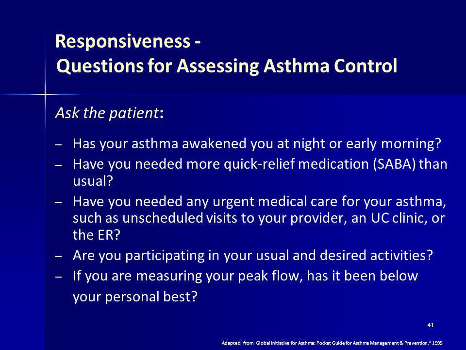 Questions for Assessing Asthma Control