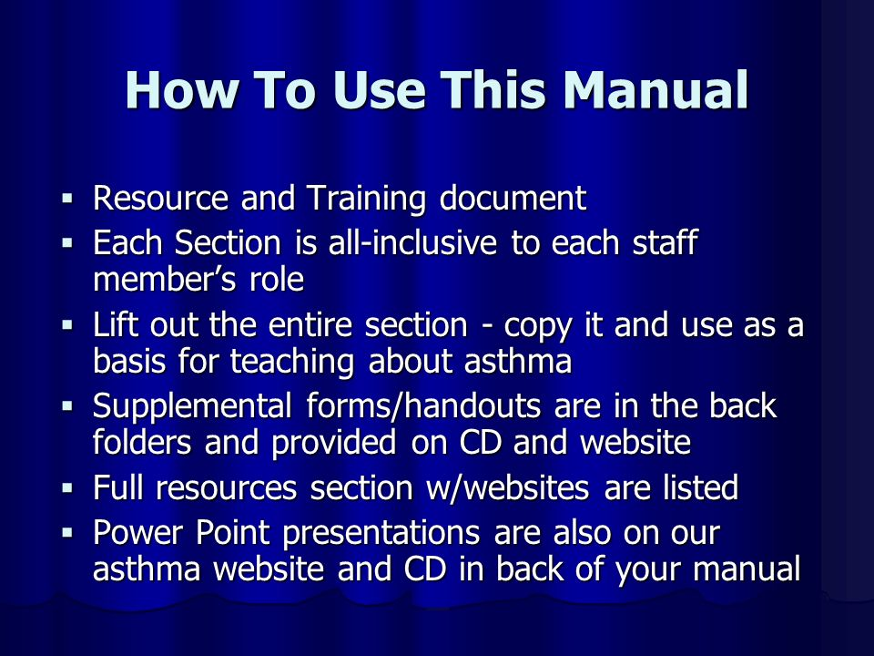 How To Use This Manual Resource and Training document