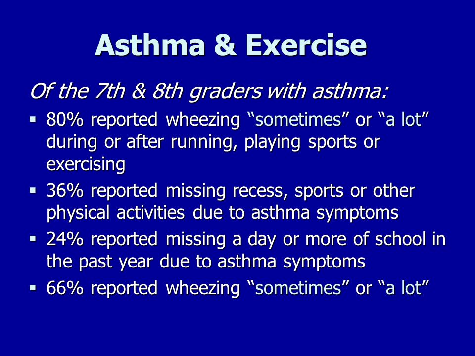 Asthma & Exercise Of the 7th & 8th graders with asthma: