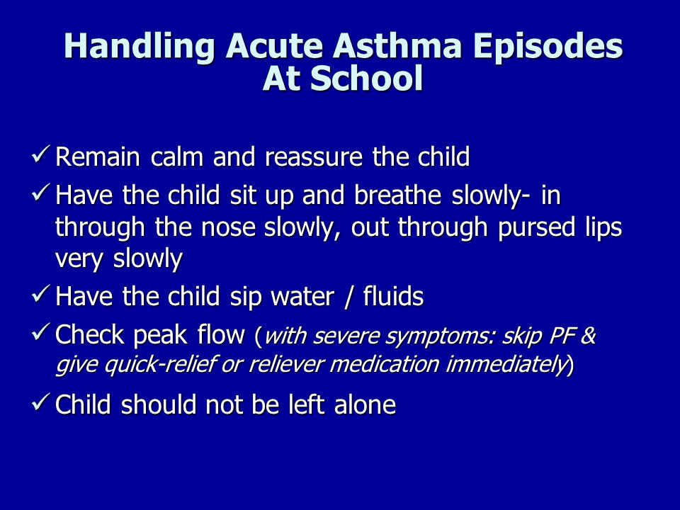 Handling Acute Asthma Episodes At School
