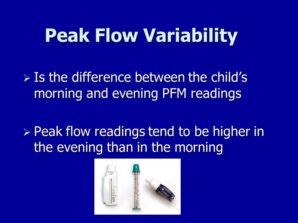 Peak Flow Variability Is the difference between the child's morning and evening PFM readings.