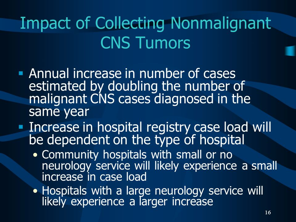 Impact of Collecting Nonmalignant CNS Tumors
