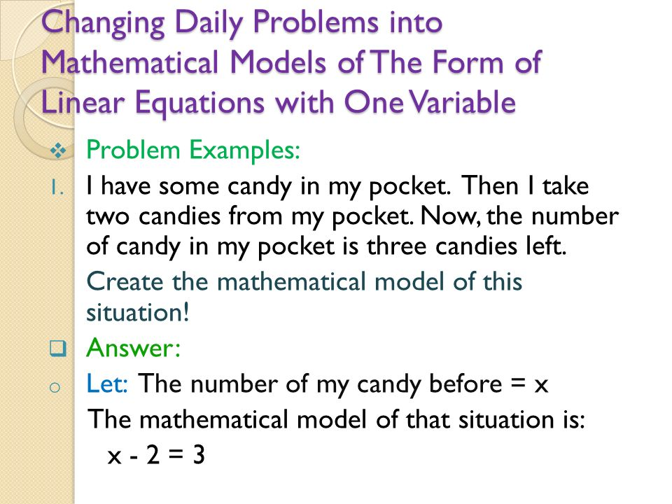 LINEAR EQUATION WITH ONE VARIABLE (LEOV) - ppt video online