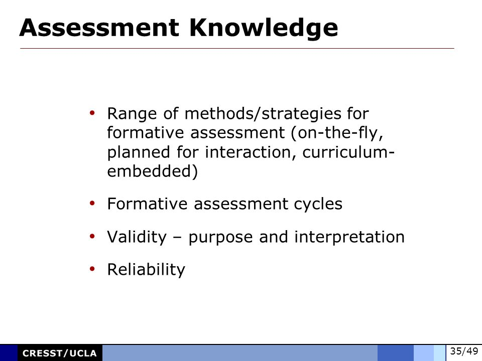Assessment Knowledge Range of methods/strategies for formative assessment (on-the-fly, planned for interaction, curriculum- embedded)