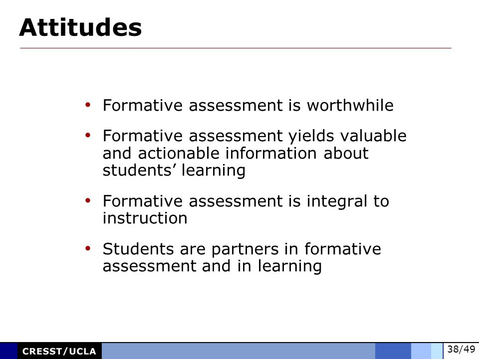 Attitudes Formative assessment is worthwhile
