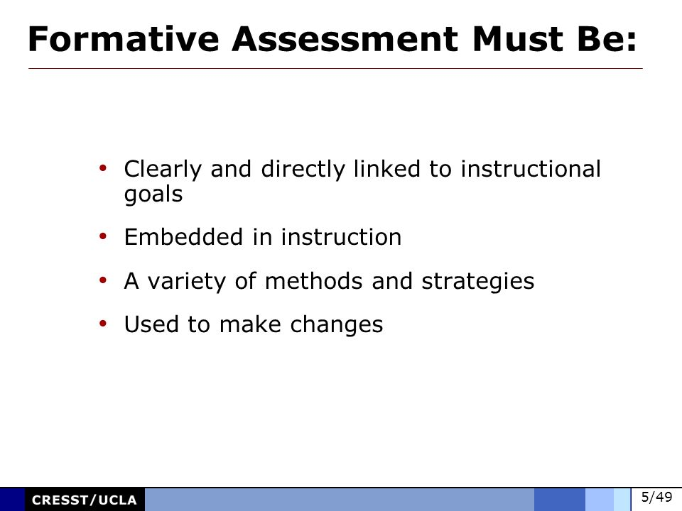 Formative Assessment Must Be: