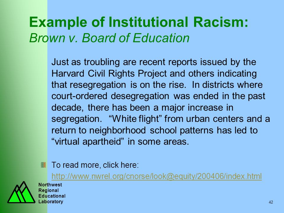 Example of Institutional Racism: Brown v. Board of Education