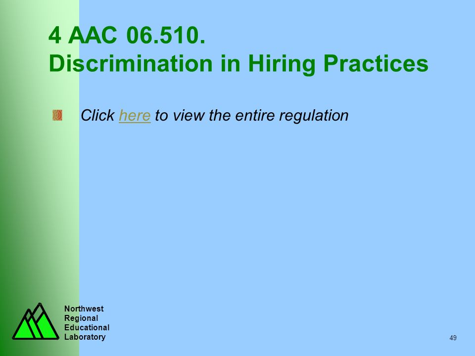 4 AAC 06.510. Discrimination in Hiring Practices